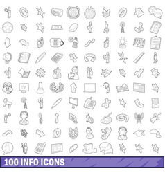 100 info icons set outline style vector image