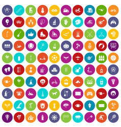 100 kids activity icons set color vector image
