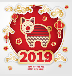 2019 year of the pig vector