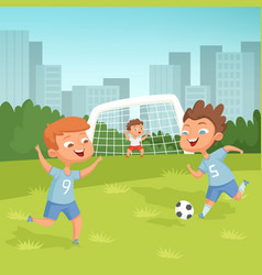 Active children playing football outdoor vector