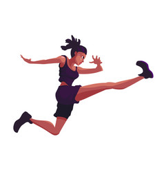 African american woman in a sporty suit is jumping vector