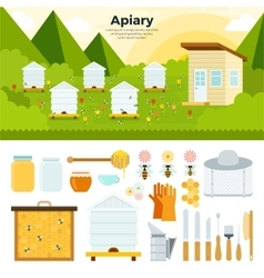 Apiary in the garden vector