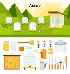 Apiary in the garden vector