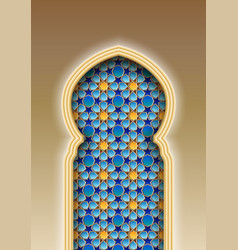 Arch with traditional arabic islamic pattern vector