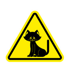 attention cat caution pet yellow triangle road vector image