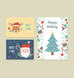 banners tree deer santa claus celebration happy vector image