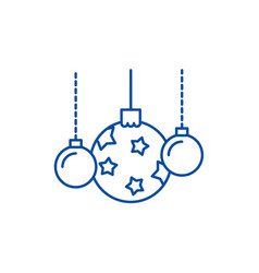 beautiful christmas balls line icon concept vector image