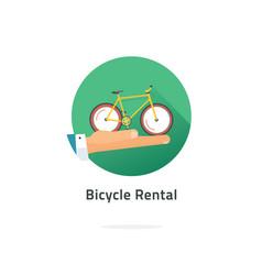 Bicycle rent sign flat cartoon cycle vector