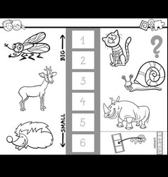 Biggest animal game coloring book for kids vector