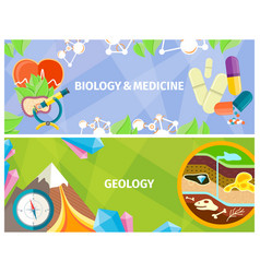 Biology medicine and geology themed bright poster vector