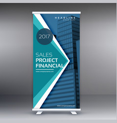 Blue standee roll up banner design with geometric vector
