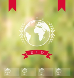 blurred background with eco badge ecology label - vector image