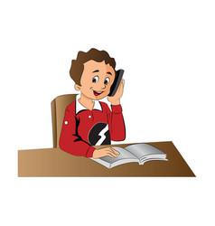 boy using a cellphone vector image
