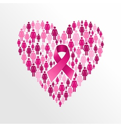 Breast cancer awareness ribbon women heart shape vector