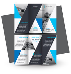Brochure design template tri-fold triangles vector