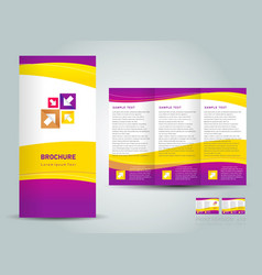 Brochure tri-fold layout design template yellow vector