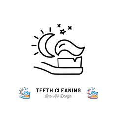 brushing teeth night toothbrush with toothpaste vector image