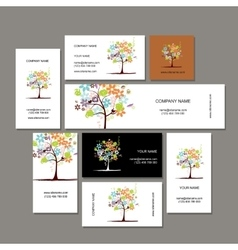 Business cards collection floral tree design vector