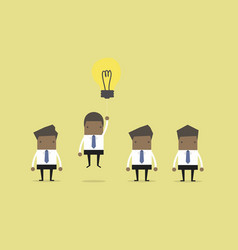 businessman flying out by light bulb of idea vector image