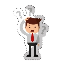 Businessman funny with Doubt series character icon vector
