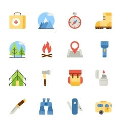 Camping and hiking flat icons vector