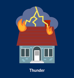 cartoon building disasters destruction thunder on vector image
