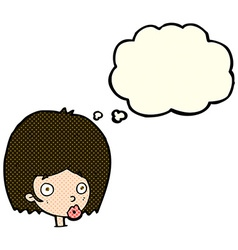 Cartoon surprised female face with thought bubble vector