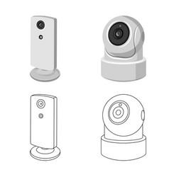 Cctv and camera symbol set vector