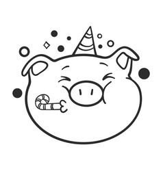 Celebrating emoticon icon a pig for coloring book vector