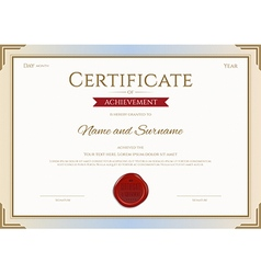 Certificate of achievement template in gold red vector