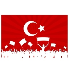 Cheering or Protesting Crowd with Turkey Flag vector image
