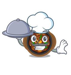Chef with food bulgogi in a cartoon shape vector