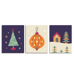 christmas decorative cards set vector image