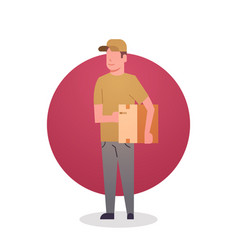 Courier boy icon postal service delivery worker vector