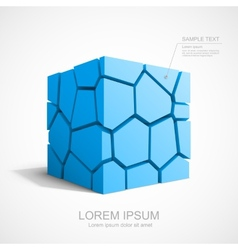 Cracked blue cube vector