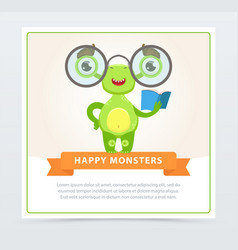 Cute funny green monster with glasses and book vector