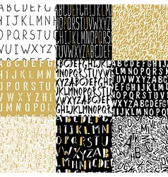Different Alphabets Seamless Patterns Collection vector image