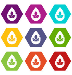 drop eco icons set 9 vector image