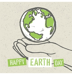 Earth symbol in hands vector image