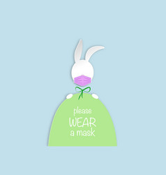 easter egg and white bunny rabbit wear a mask vector image