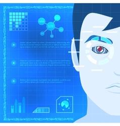 Eye Biometrics Scanner Technology Graphic Design vector