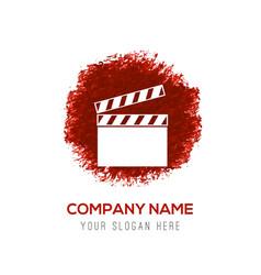 Film strip icon - red watercolor circle splash vector