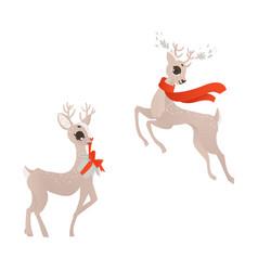 flat christmas reindeer set vector image