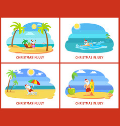 Four colorful images xmas in july on plage vector