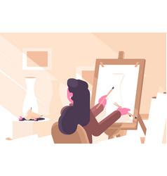 Girl in art school flat poster vector