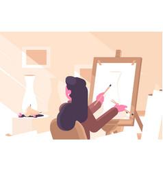 girl in art school flat poster vector image