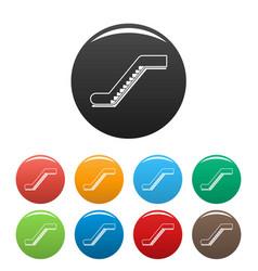 glass escalator icons set color vector image