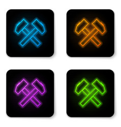 glowing neon two crossed hammers icon isolated on vector image