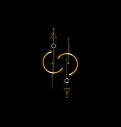 gold line dot tattoo art new geometric vector image