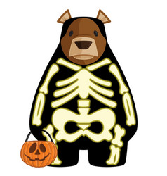 halloween cartoon bear in glow vector image